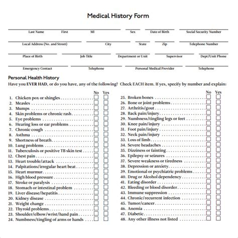 medical history form 7 download free documents in pdf word