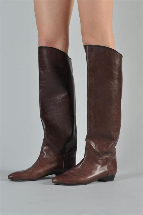 yves laurent knee high leather boots louboutinoutlet