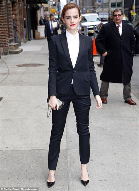 Emma Watson In Suit | emma watson looks svelte in fitted trouser suit as she