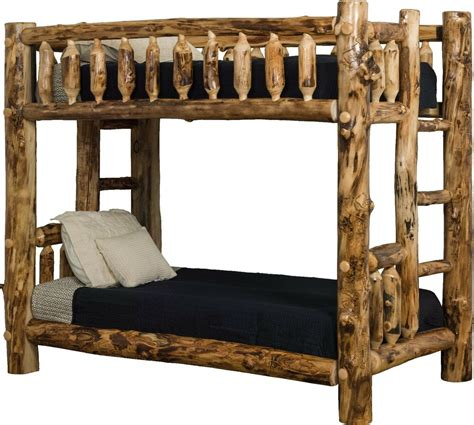 rustic aspen log bunk beds mission style twin  full