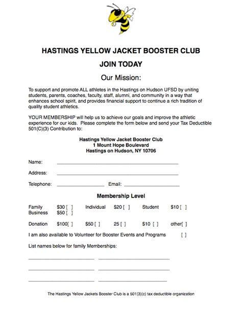 Join Hastings Yellow Jackets Booster Club Booster Club Membership Form Template