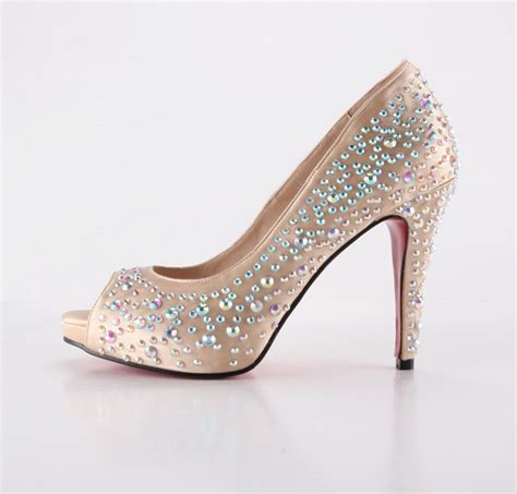 Handmade High Heels - handmade almond beige high heel with rhinestones dress