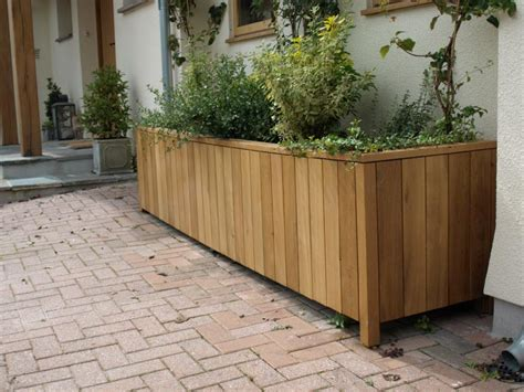 large wooden planters large wooden trough planter garden design ideas