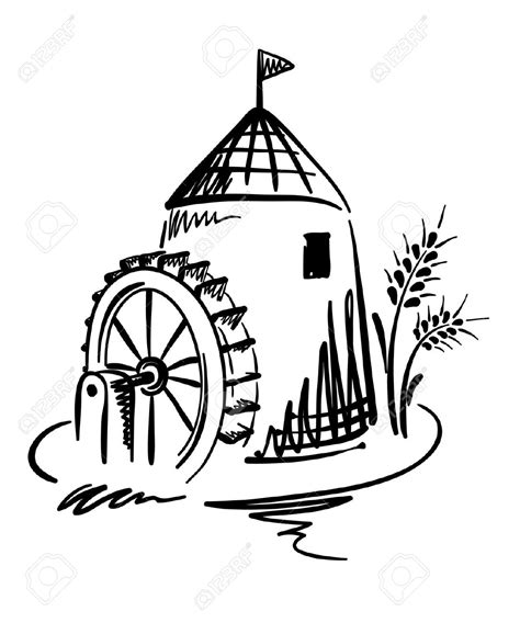 water mill coloring page grist mill pages coloring pages