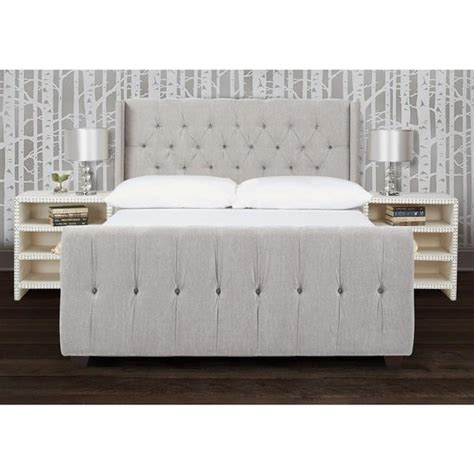 winged tufted headboard gray tufted winged headboard