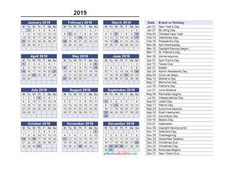 yearly calendar   holidays printable   image monday  printable