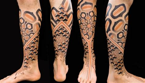 geometric leg tattoos geometric leg