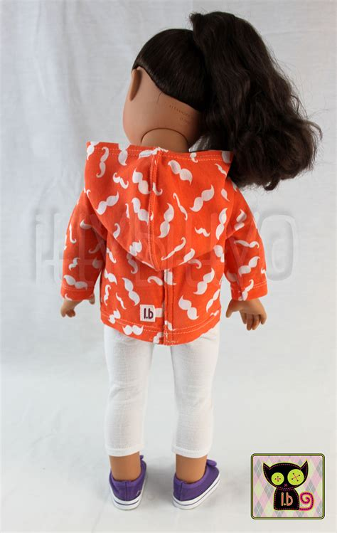 Set Hoody Mustache Cc 1 2 pc orange white mustache hoodie and set for 18 quot dolls itty bitty 183 itty bitty