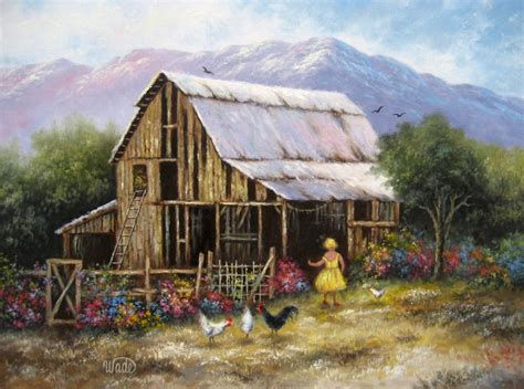country farm paintings with barn blond barn original painting 18x18 by