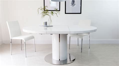 White Extending Dining Tables White Gloss Extending Dining Table Pedestal Polished Steel Trim