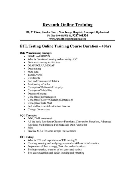 Etl Resume Informatica Annecarolynbird Etl Testing Template