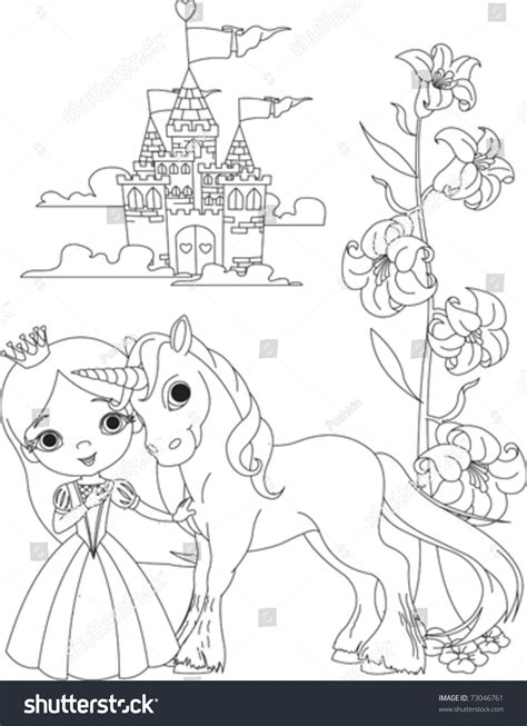 beautiful princess her cute unicorn coloring stock vector