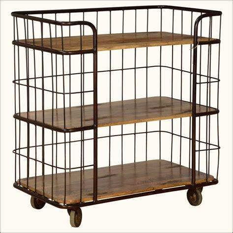 Three Shelf Rolling Cart by Fence Me In Mango Wood Iron Rolling 3 Shelf Cart
