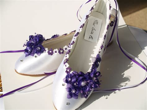 flat purple wedding shoes wedding flats purple silk flowers pearls crystals and ankle