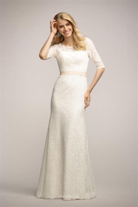 Ivory Wedding Dresses Uk by Boat Neck Ivory Lace Bridesmaid Dress Uk With 3 4