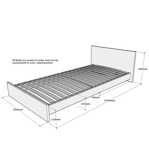 Bed Frame Measurements Lumbrook Solid Oak Small Single Bed Frame 2ft 6