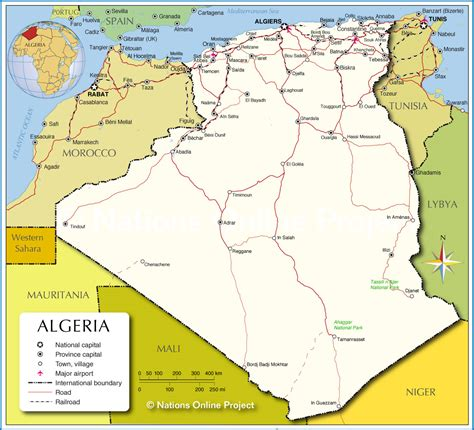 map of algeria cities political map of algeria nations project