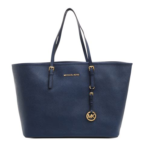 Michael Kors Jet Set Navy michael kors medium jet set saffiano travel tote in navy blue polka b authentic luxury you