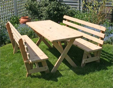 stansport heavy duty picnic table and bench set alternate views of 32 quot cedar backyard bash cross legged