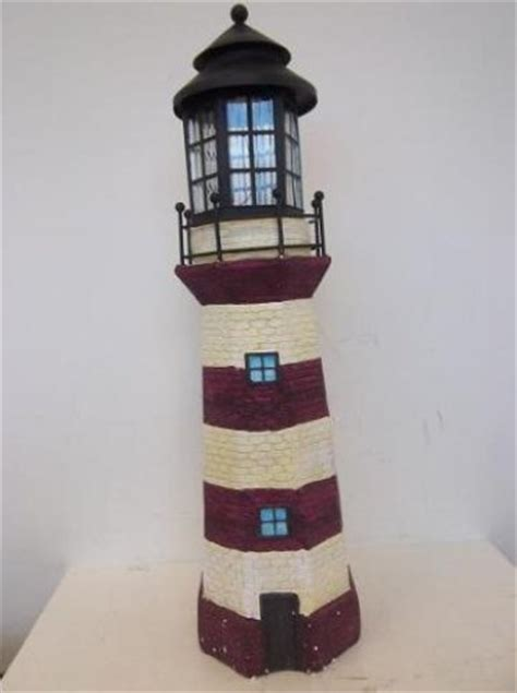 Large Lighthouse Fiberglass Solar Light Brown Ivory Lighthouse Solar Light