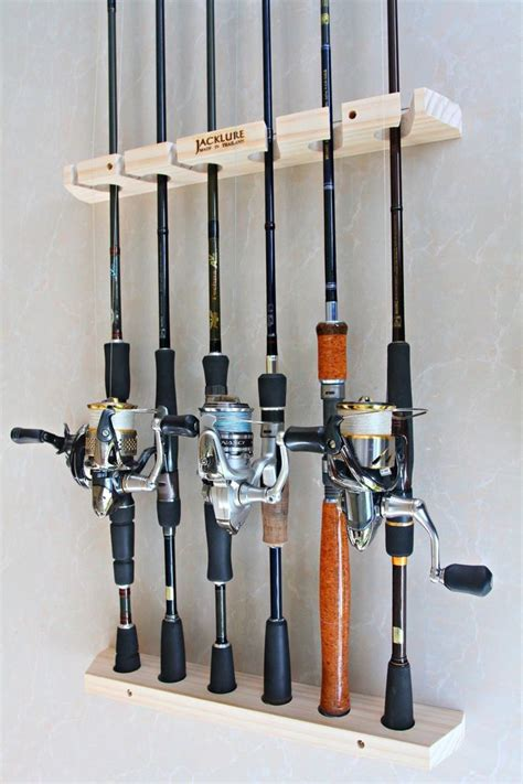 How To Build A Fishing Pole Rack by Handmade Fishing Rod Racks Wall Type Of 6 Vertical