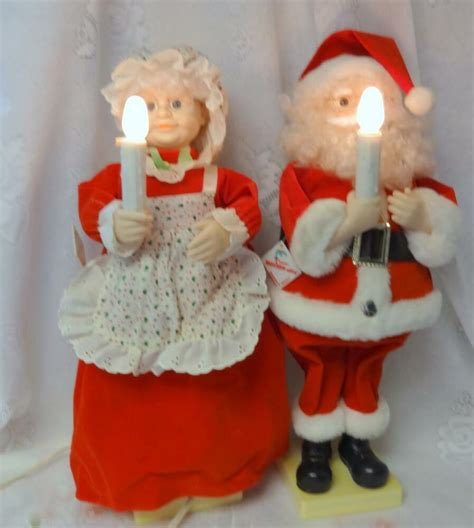 motion ettes of christmas figures vintage animated mr mrs santa claus lighted telco motion ettes original tag box ebay