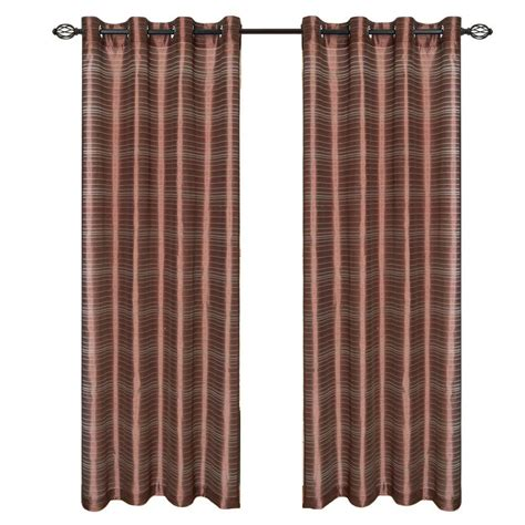 Curtains 95 Inches Length Lavish Home Chocolate Maggie Grommet Curtain Panel 95 In Length 63 95q298 C The Home Depot