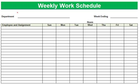 printable work schedule template free printable work schedule template