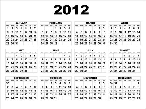 Calendar Of 2012 2012 Calendar Yearly Calendar Template
