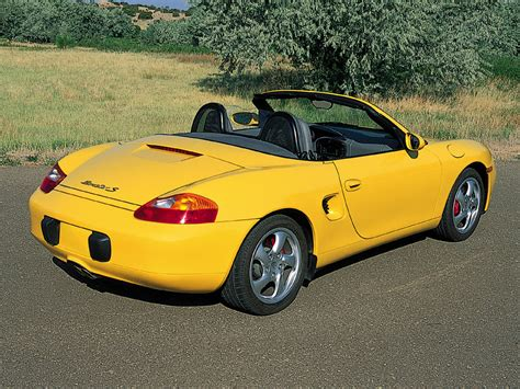 2001 Porsche Boxster S Yellow Rear Angle 1024x768