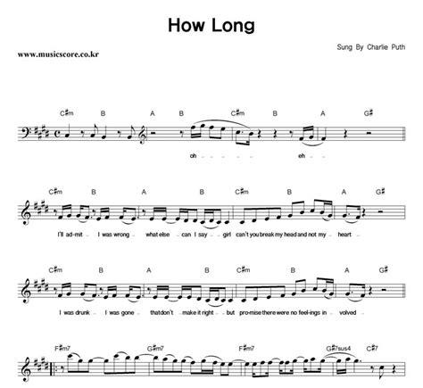 Charlie Puth How Long Chord | charlie puth how long 악보 뮤직스코어 악보가게