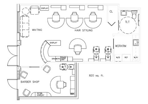 barbershop floor plan layout barber shop floor plan design layout 820 square foot