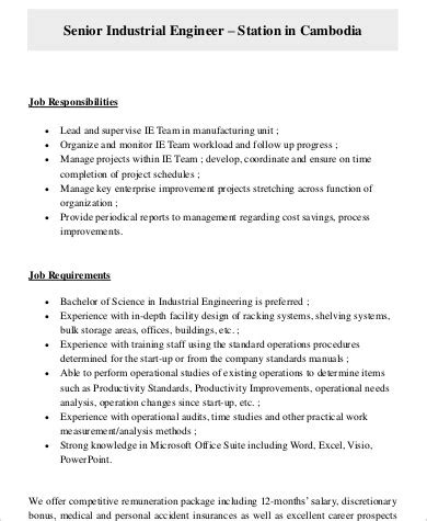 Senior Engineer Description by Production Engineering 20 Manufacturing Engineering Resume In Unicon Consulting