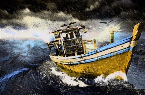 cartoon boat in storm painting old boat in storm free stock photo public