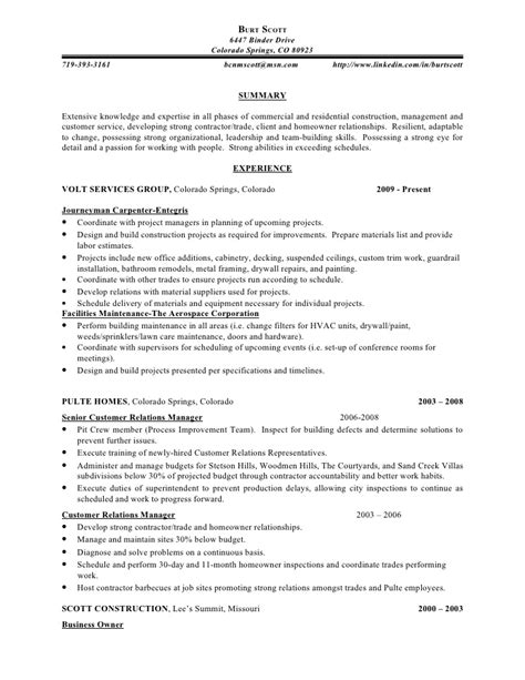 sle construction resume sle construction superintendent resume 28 images