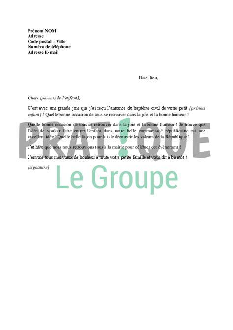 Lettre De Félicitation Entreprise Lettre De F 233 Licitations Pour Le Bapt 234 Me Civil Ou R 233 Publicain D Un Enfant Pratique Fr