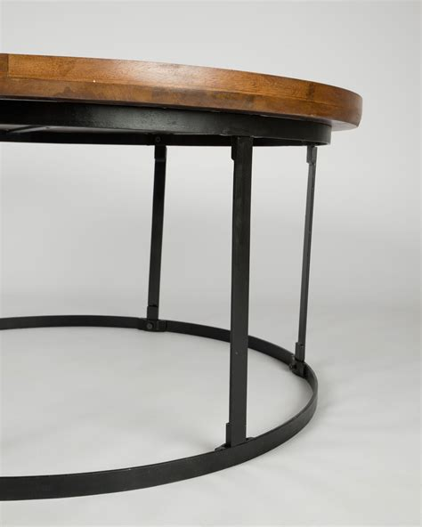 round end table wood industrial round coffee table with dark wood top and steel