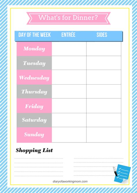 working mom printable planner working mom meal planning tips free printable diary