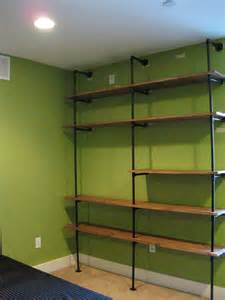 pipe shelves diy diy pipe shelving the overly detailed tutorial diy esq