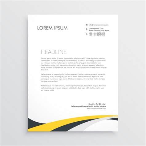 Kostenlose Vorlage Briefpapier Gelb Und Grau Wellen Briefpapier Design Vorlage Der Kostenlosen Vektor