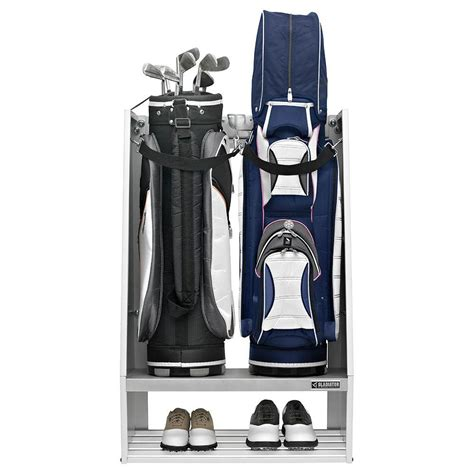 Golf Bag Garage Organizer by Gladiator Premier Series Welded Steel 2 Bag Golf Caddy
