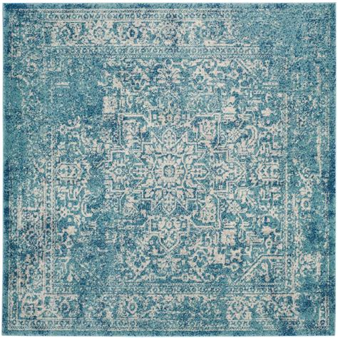 10 foot square blue rug safavieh evoke blue ivory 9 ft x 9 ft square area rug