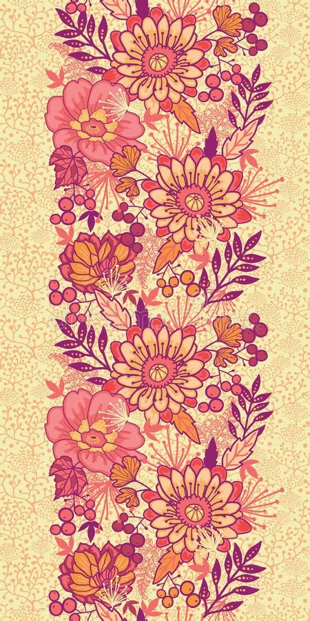 fall flowers vertical seamless pattern background stock