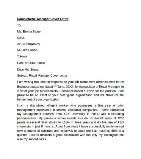 cover letter for retail assistant manager sle retail cover letter template 9 free