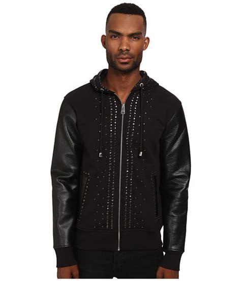 Hoodie Cavali just cavalli studded hoodie with leather sleeves 6pm