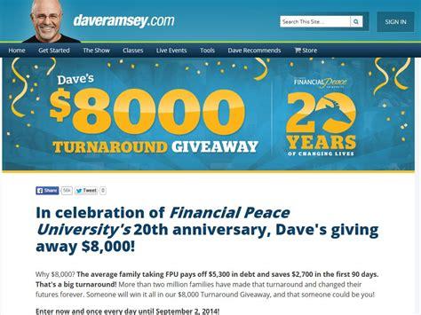 Www Daveramsey Com Giveaway - daveramsey com 8000 turnaround giveaway