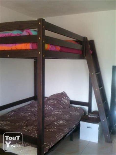 lit mezzanine 2 places en bois wenge mandelieu la napoule