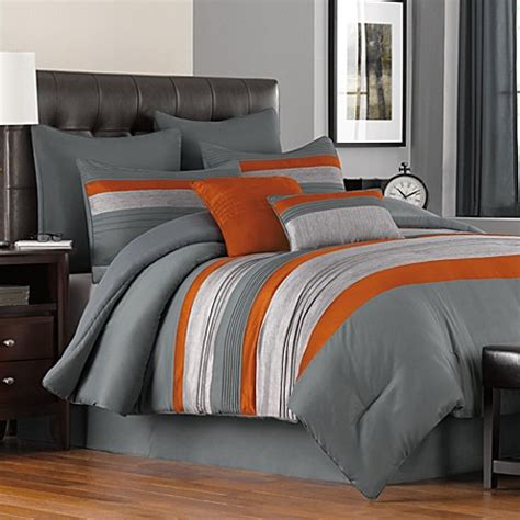 gray and orange comforter set buy livingston 8 piece queen comforter set from bed bath