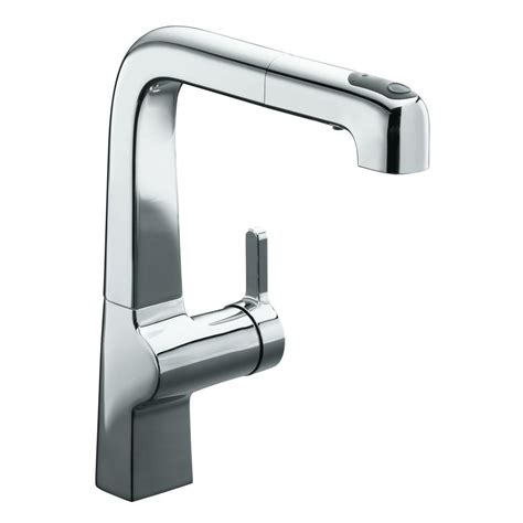 kohler evoke kitchen faucet kohler evoke single handle pull out sprayer kitchen faucet in polished chrome k 6331 cp the