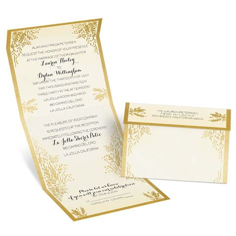 wedding invites ferns of gold seal and send invitation s bridal bargains